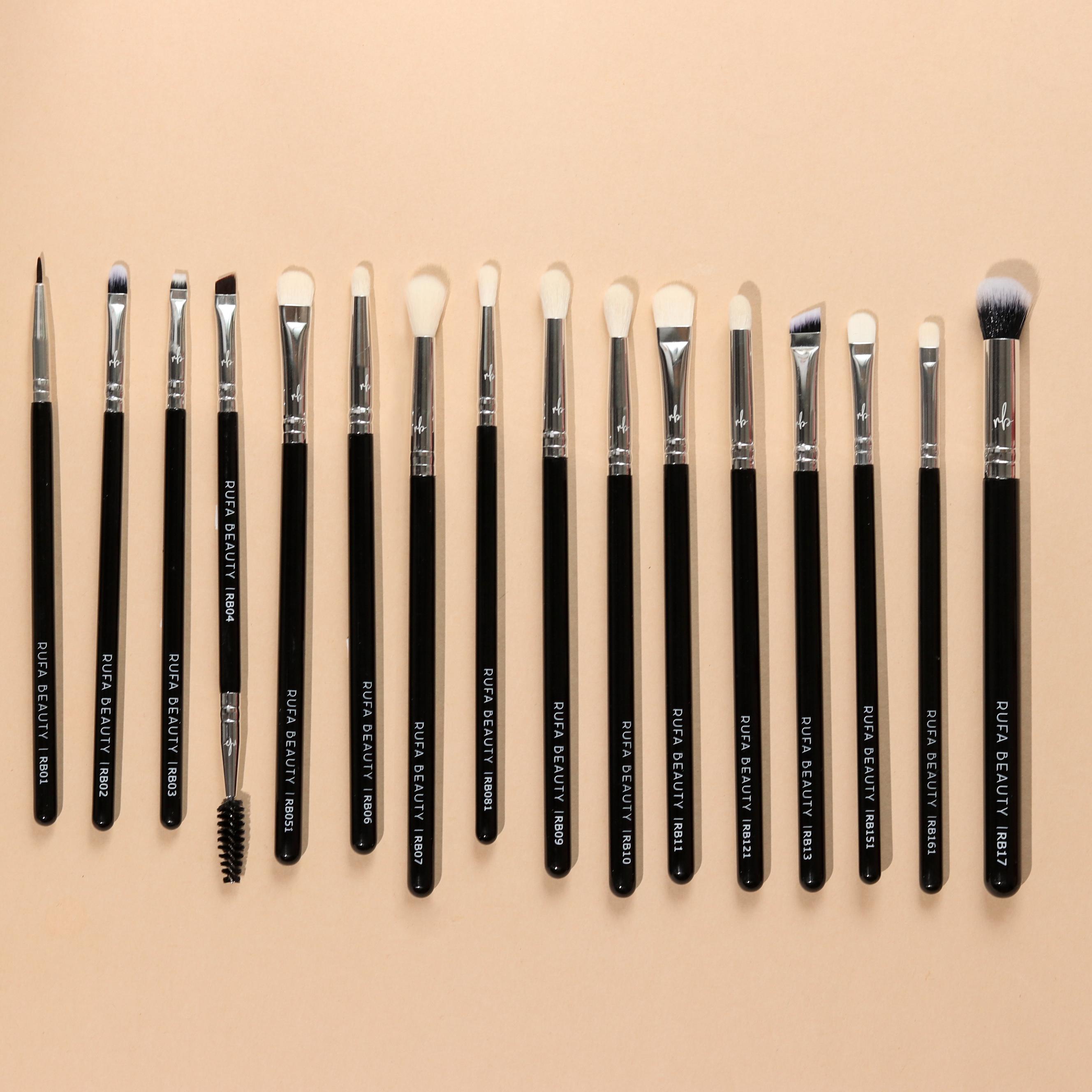 New Remastered Pro Eye Brushes – Complete Eye Brush set of 16 Brushes (includes concealer buffing brush)
